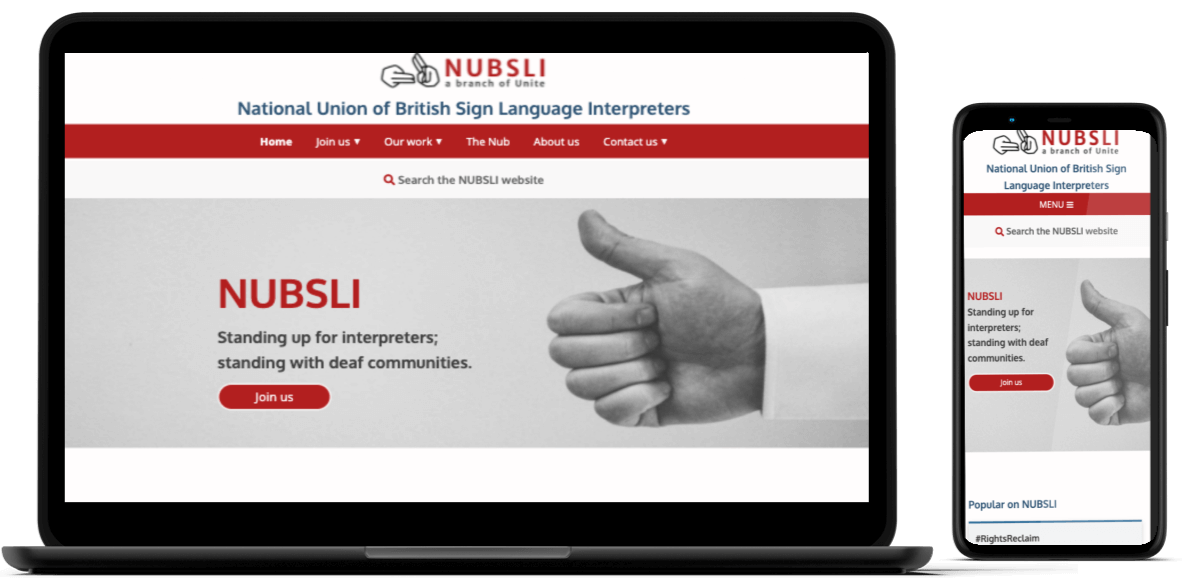 laptop and mobile showing NUBSLI home page